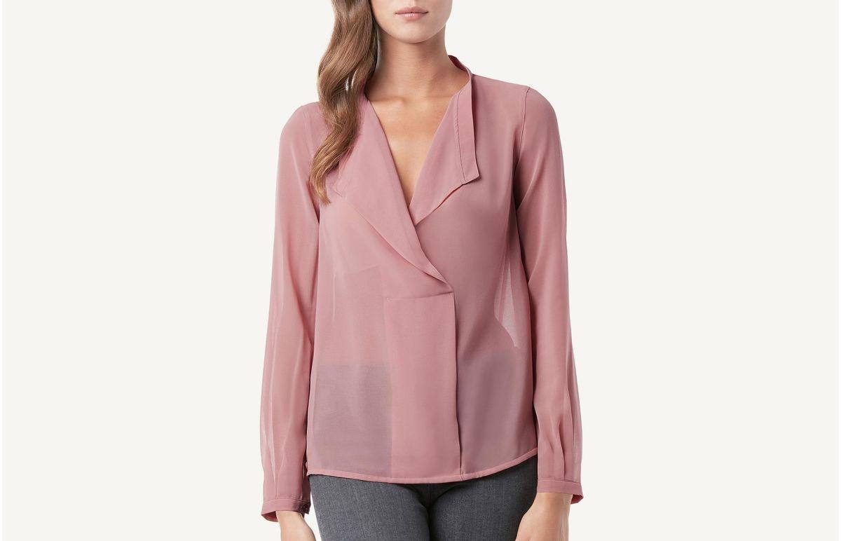 Camisa De Georgete Cruzada - Rosa G