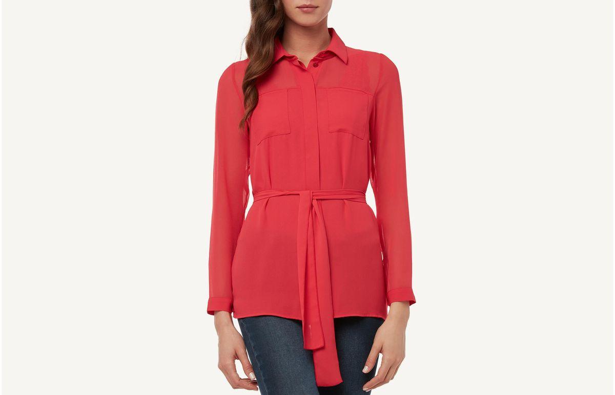 Camisa De Manga Comprida De Viscose - Vermelho M