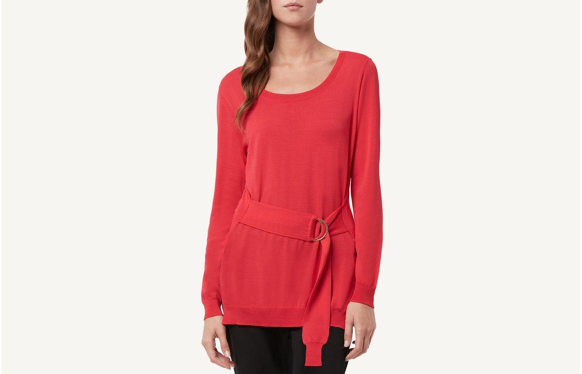 Camisa De Viscose Com Cinto - Vermelho G