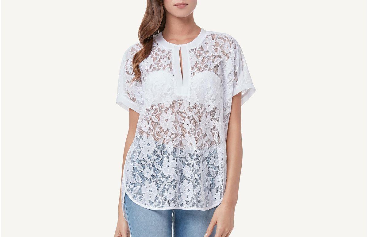 Camisa Maxi Em Renda - Branco M