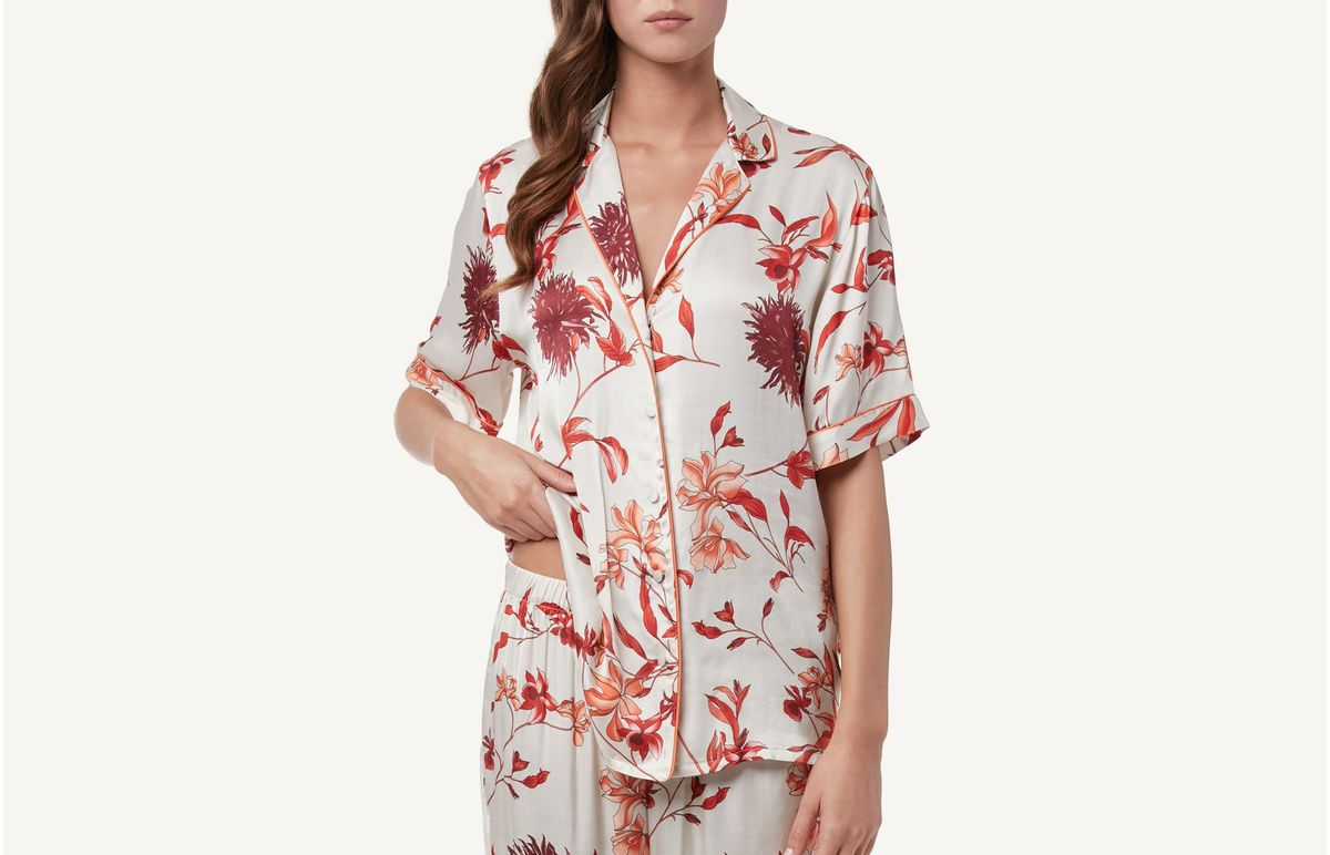 Camisa De Cetim Com Estampado Floral - Estampado P