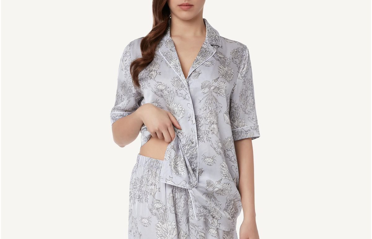 Camisa De Cetim Com Estampa Marinheiro - Cinza P