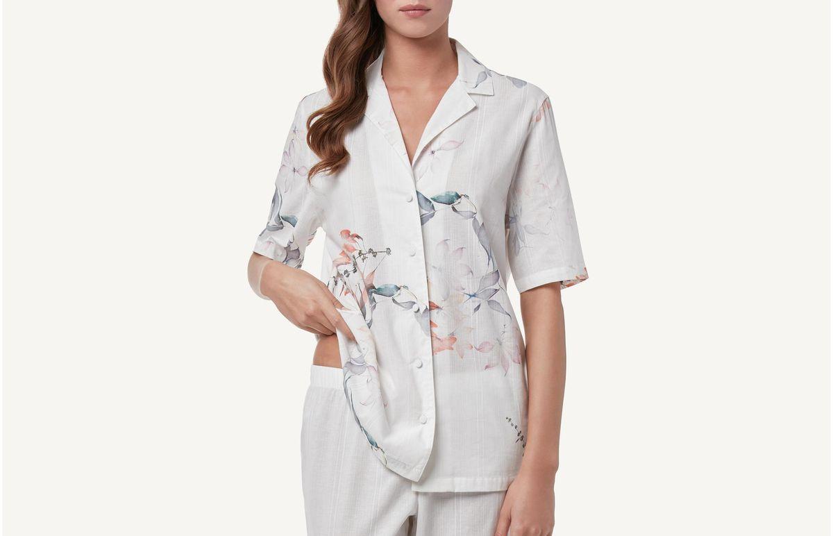 Camisa Às Riscas e Flores - Estampado P