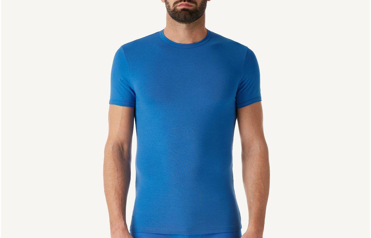 Camiseta Gola Em Algodão Elástico - Azul P