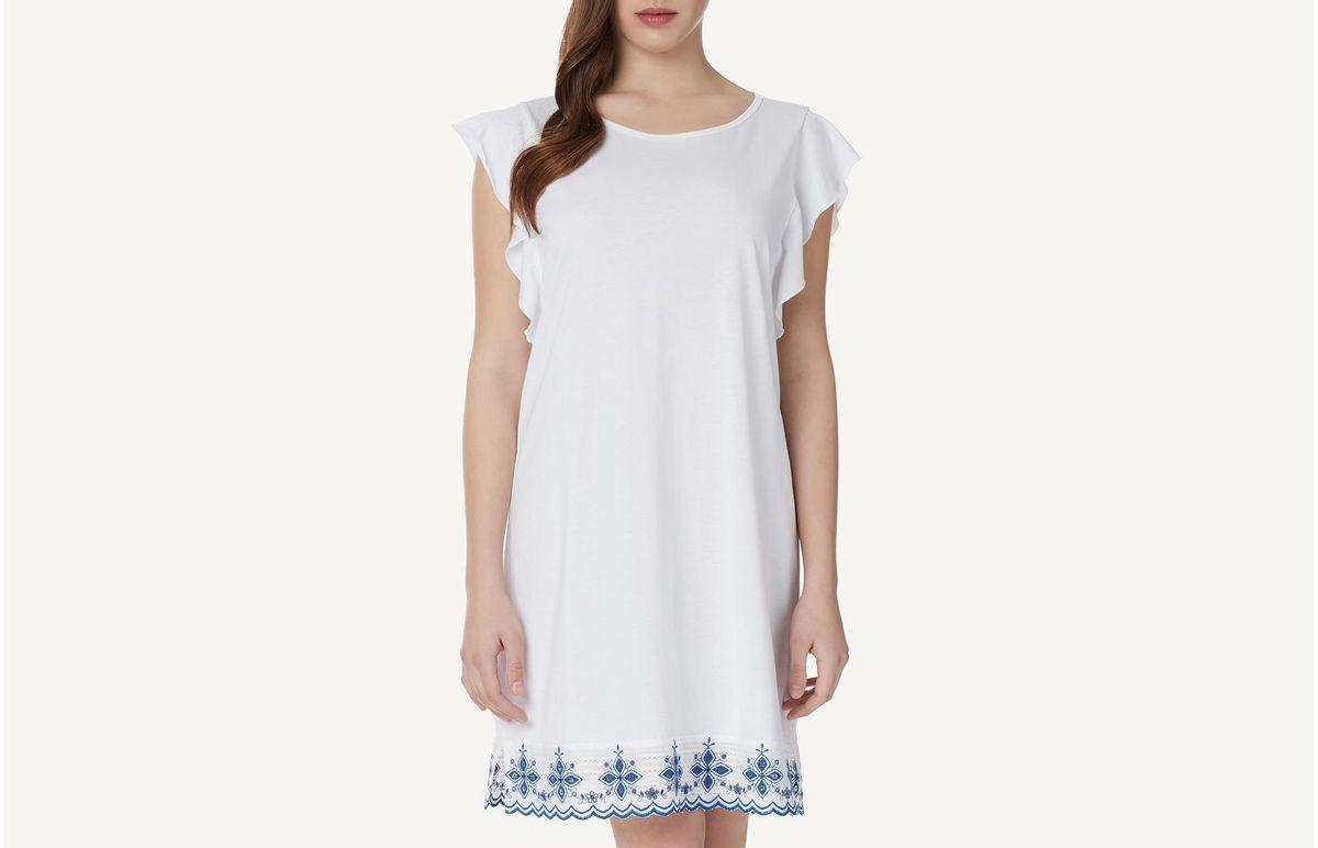 Camisa De Noite De Algodão Supima Spicy Waves - Branco P