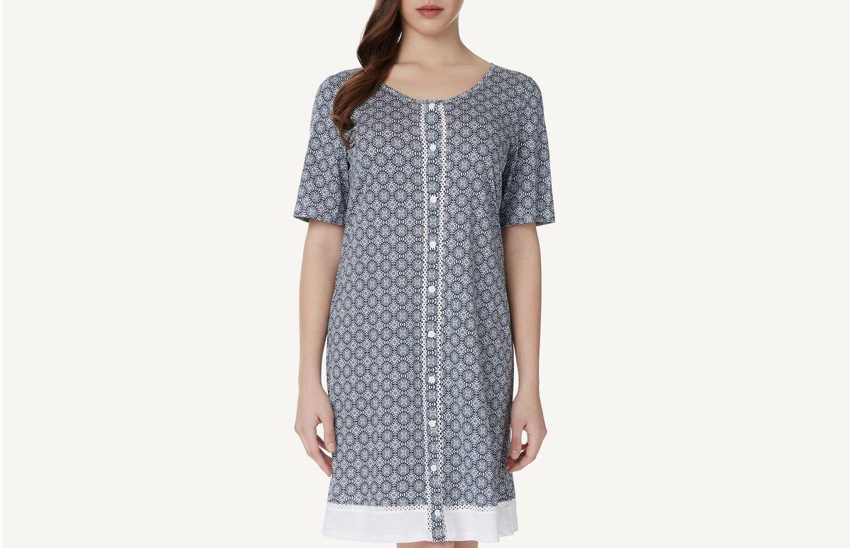 Camisa De Noite De Algodão Supima Maiolica Lace - Azul P