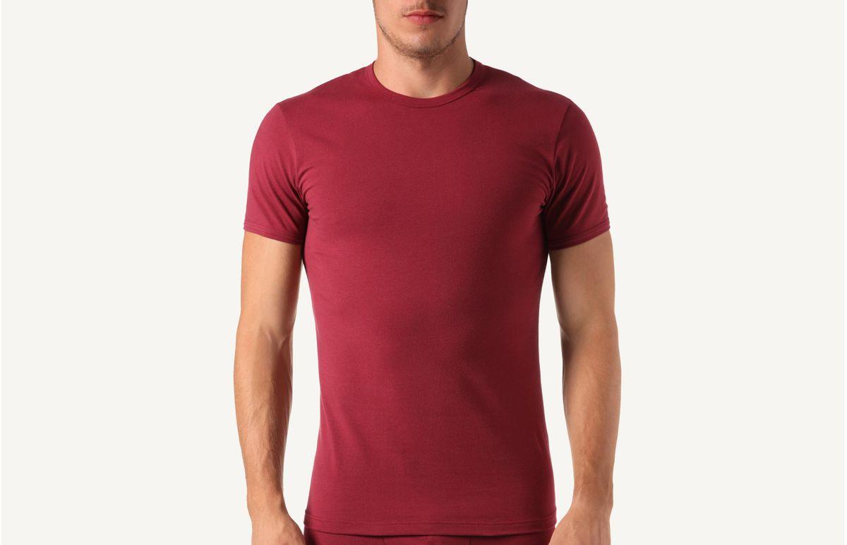 Camiseta Gola Em Algodão Elástico - Vermelho M