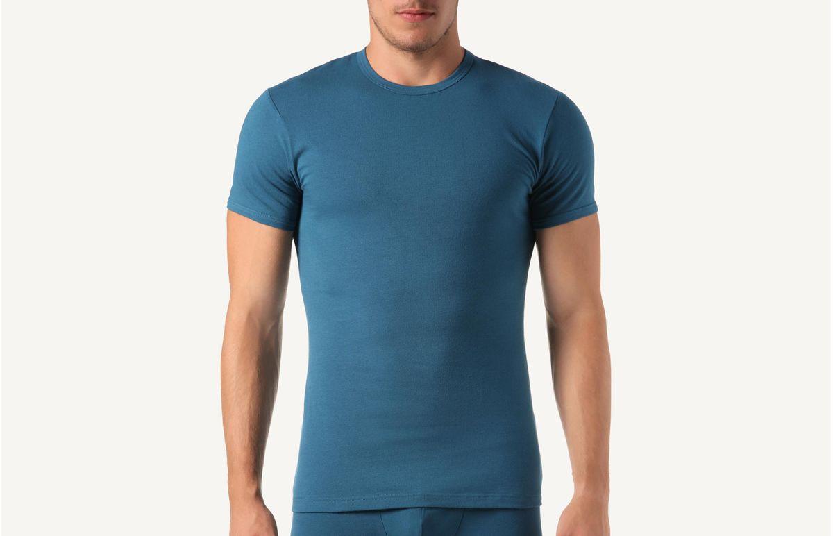 Camiseta Gola Em Algodão Elástico - Verde M