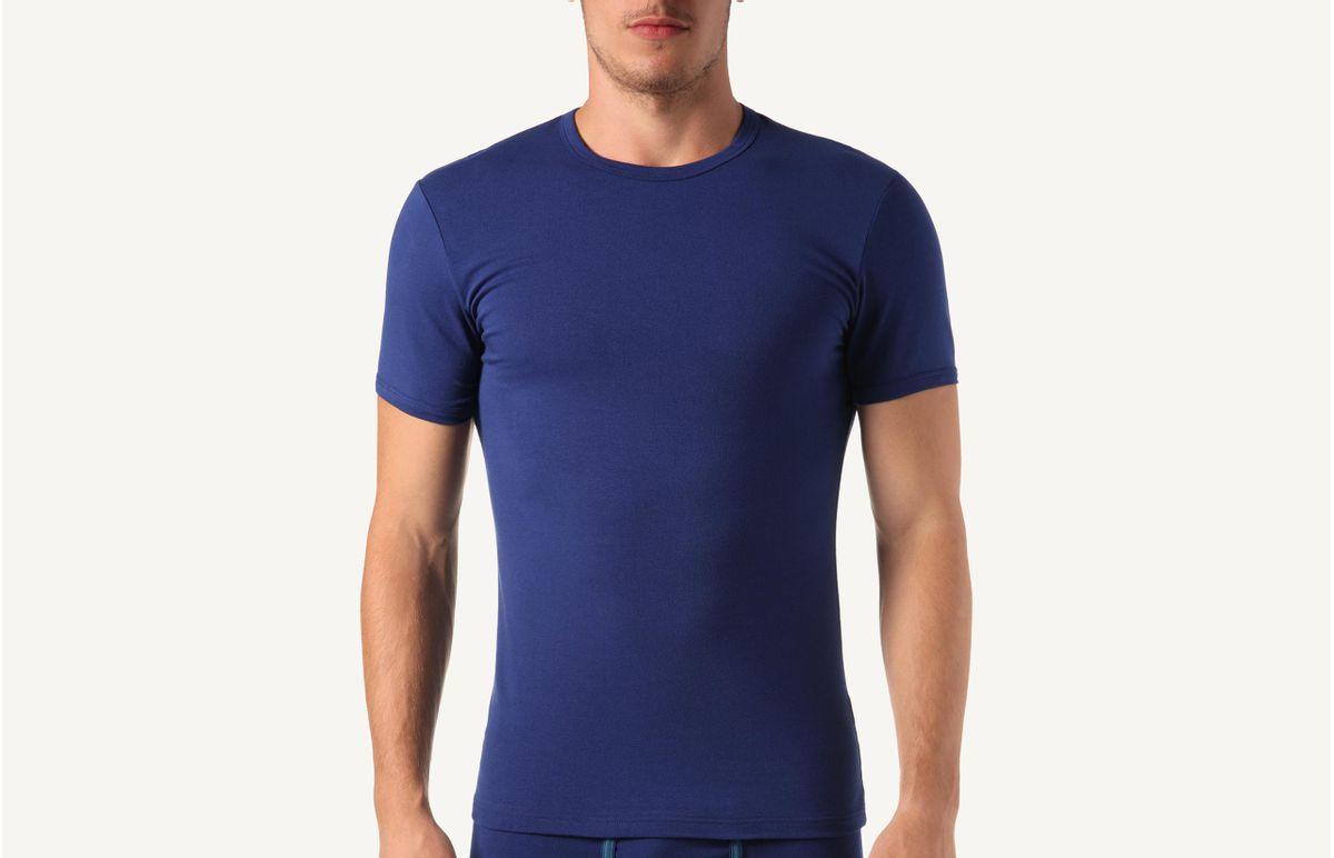 Camiseta Gola Em Algodão Elástico - Azul M