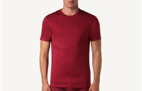 388fc6e755 Camiseta De Manga Curta Gola De Algodao Supima® - Vermelho