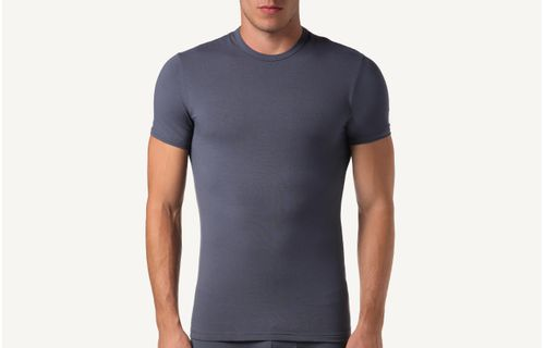 f61b65291d134 Camiseta Gola Em Algodão Elástico - Cinza