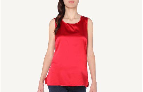 bcba18a6cb Blusa Em Seda e Modal Decote Redondo e Alças Largas - Vermelho