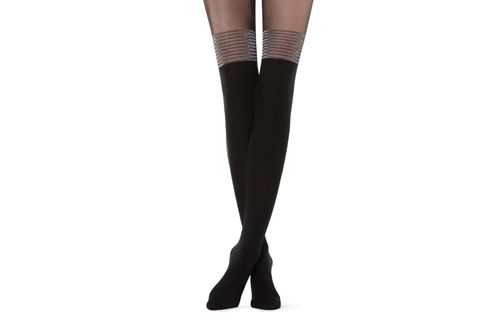 Meia Calça Longa Com Riscas Brilhantes Party Collection - Preto