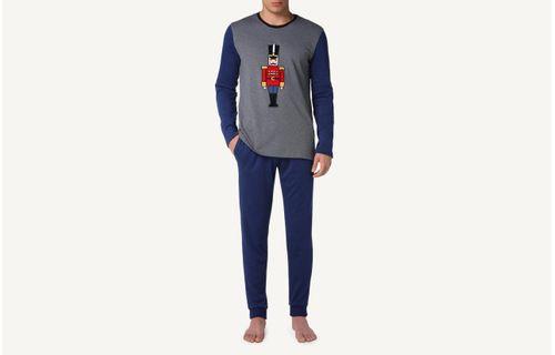 ca54492f8 Pijama Comprido Em Algodão Com Soldadinho - Cinza