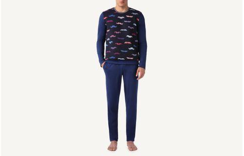 020041cde Pijama Comprido Com Bigode Jacquard - Azul