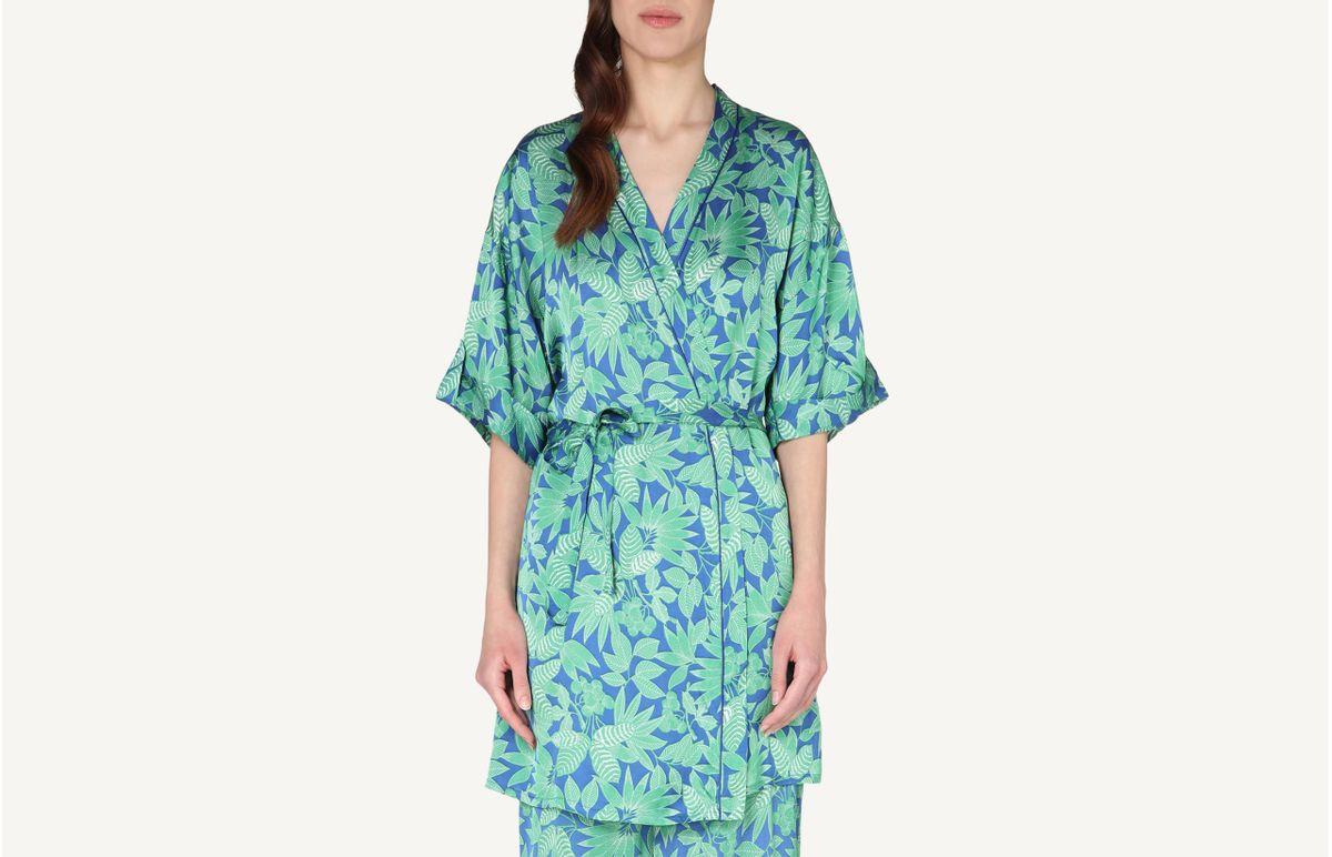 Robe Em Cetim De Viscose Com Estampado Foliage - Estampado M