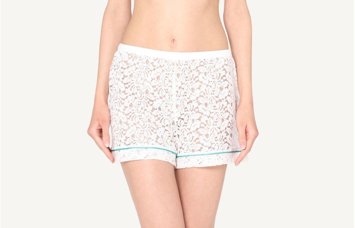 Shorts Curtos Em Renda De Algodão - Marfim P