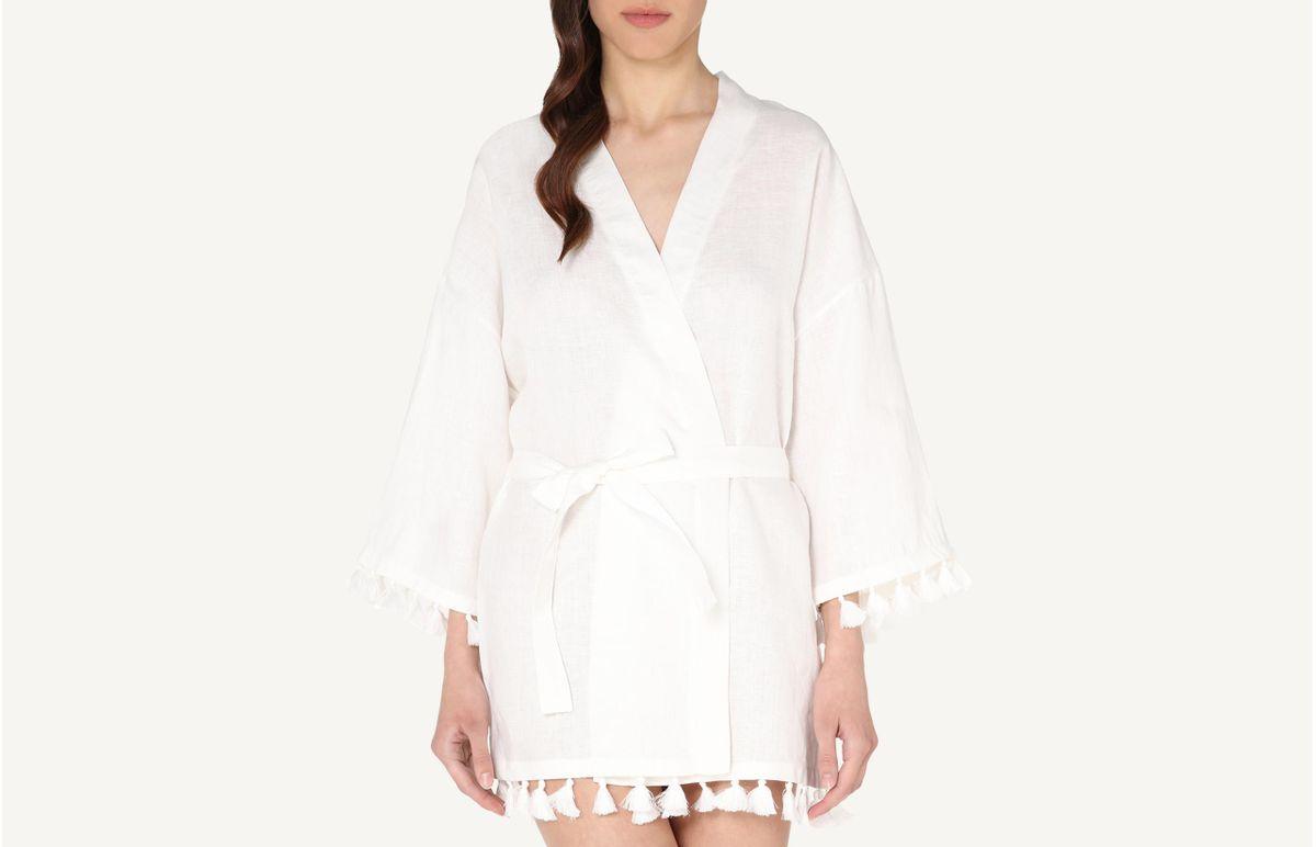Robe Em Linho Com Borlas - Marfim M