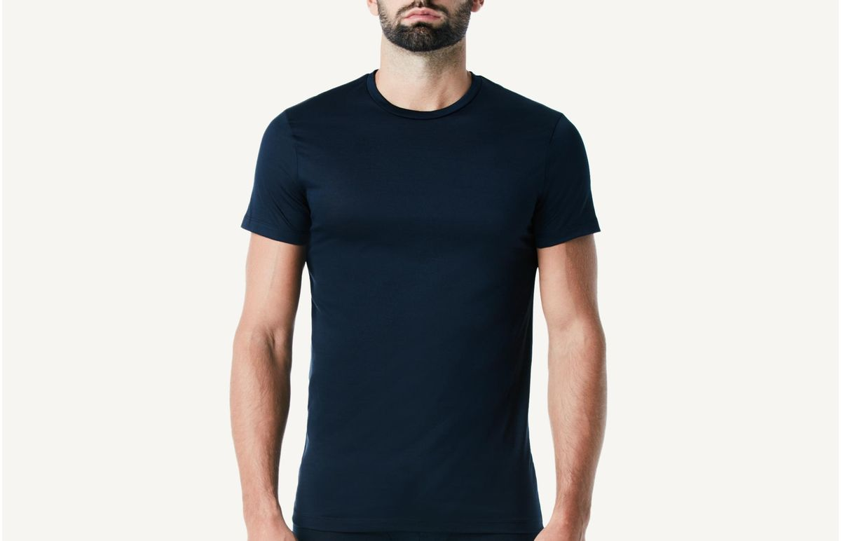 Camiseta Manga Curta Fio De Escocia - Azul M