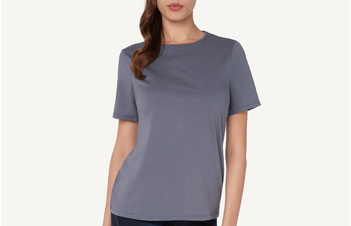 7091a85edc Camiseta Manga Curta Em Algodão Supima® Com Decote Redondo - Azul M