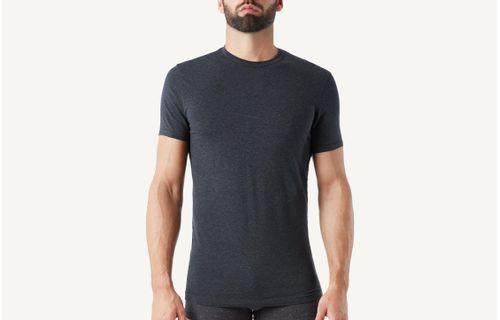 cc28d56ae9 Camiseta Gola Em Algodão Elástico - Cinza