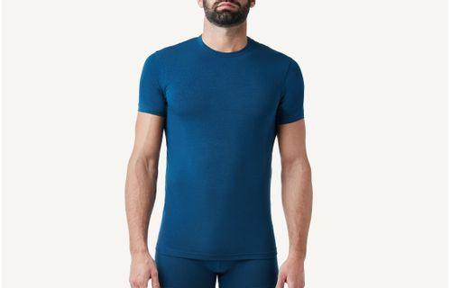 3e7a933700 Camiseta Gola Em Algodão Elástico - Azul