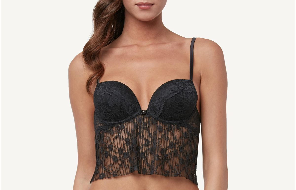 4733df67c Sutiã Push-Up Silvia Romantic Plissê - Preto 44B